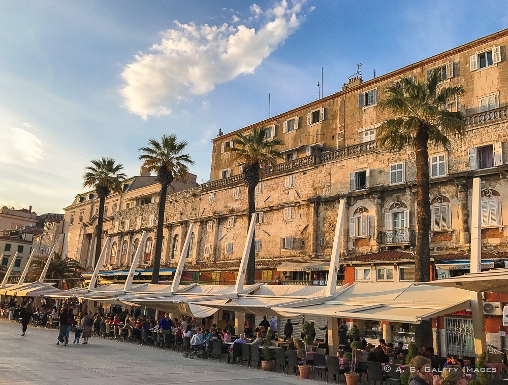 the facade of Diocletian's Palace as seen from Split's Riva promenade