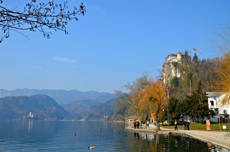 Bled Castle perched on a rocky outcrop above Lake Bled