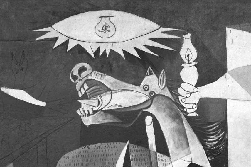 detail of a horse, one of the central figures of Guernica