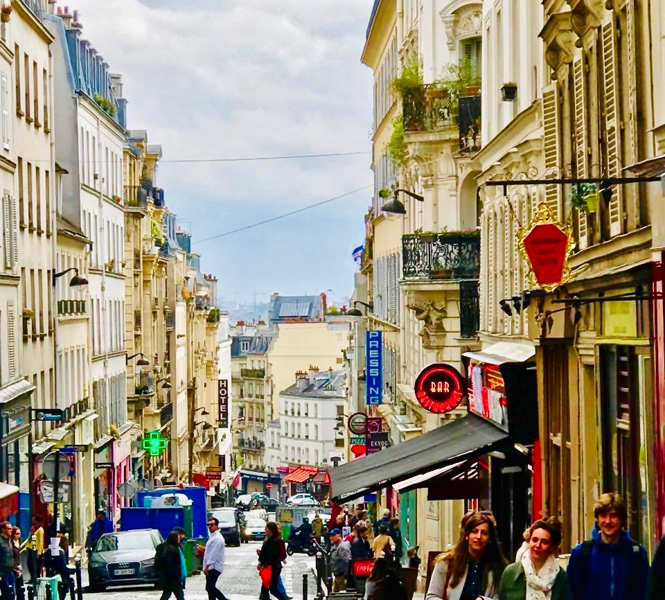 the bustling Rue des Martyrs in South Pigalle Paris