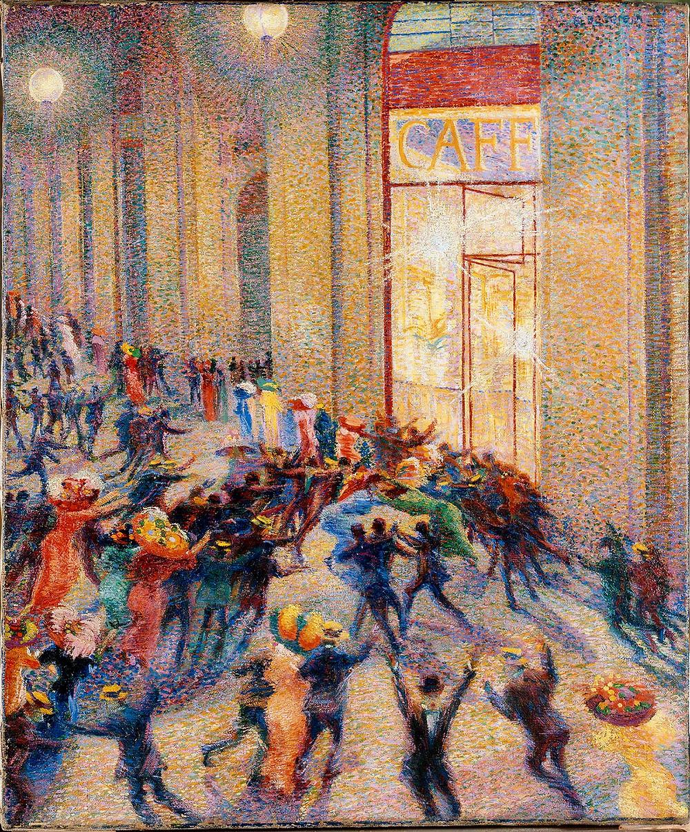 Umberto Boccioni, Riot in the Gallery, 1910