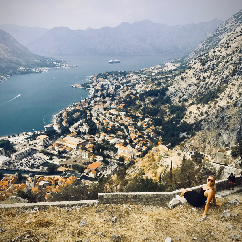 Ali taking in the spectacular views after a long hike to the Castle of San Giovani in Kotor