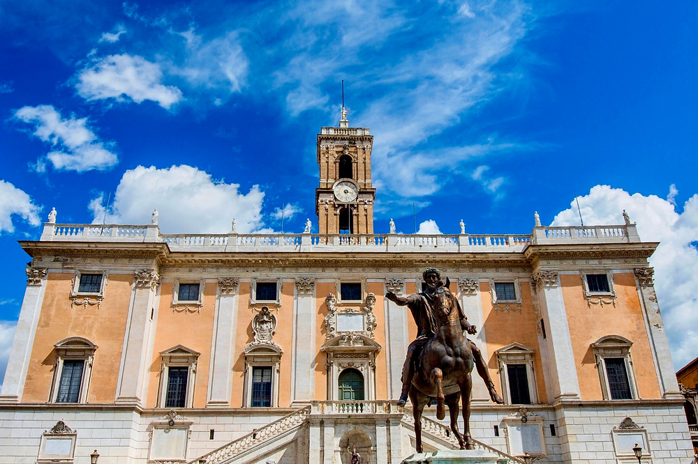 the Capitoline Museums and the Marcus Aurelius statue