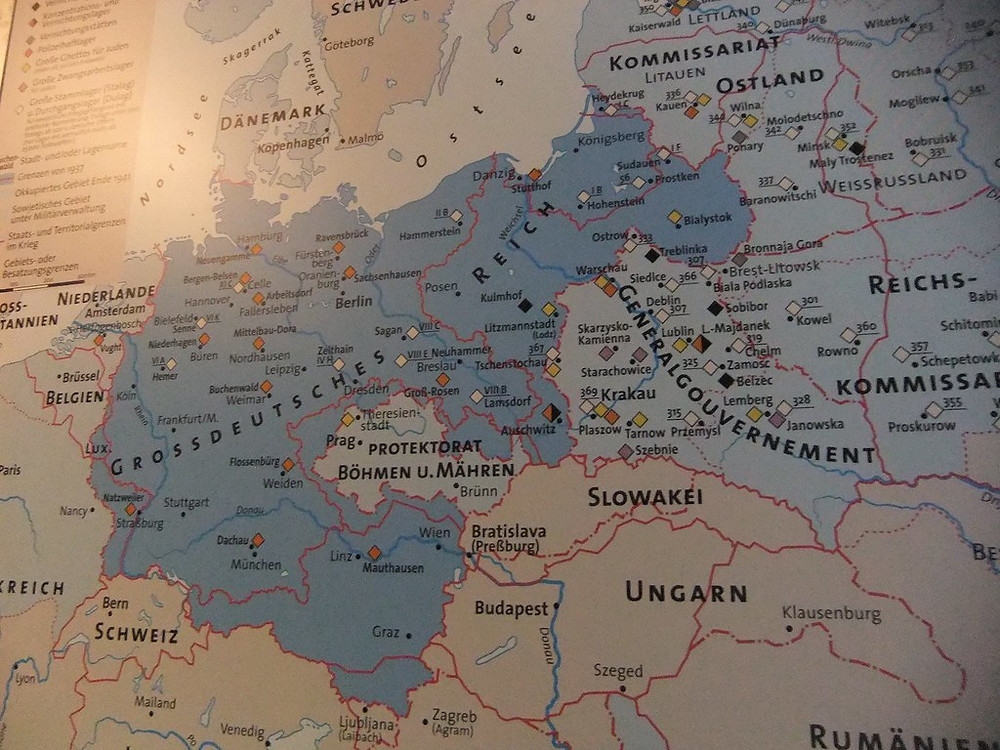 map of the Nazi concentration camps, on display in the Nazi Documentation Center