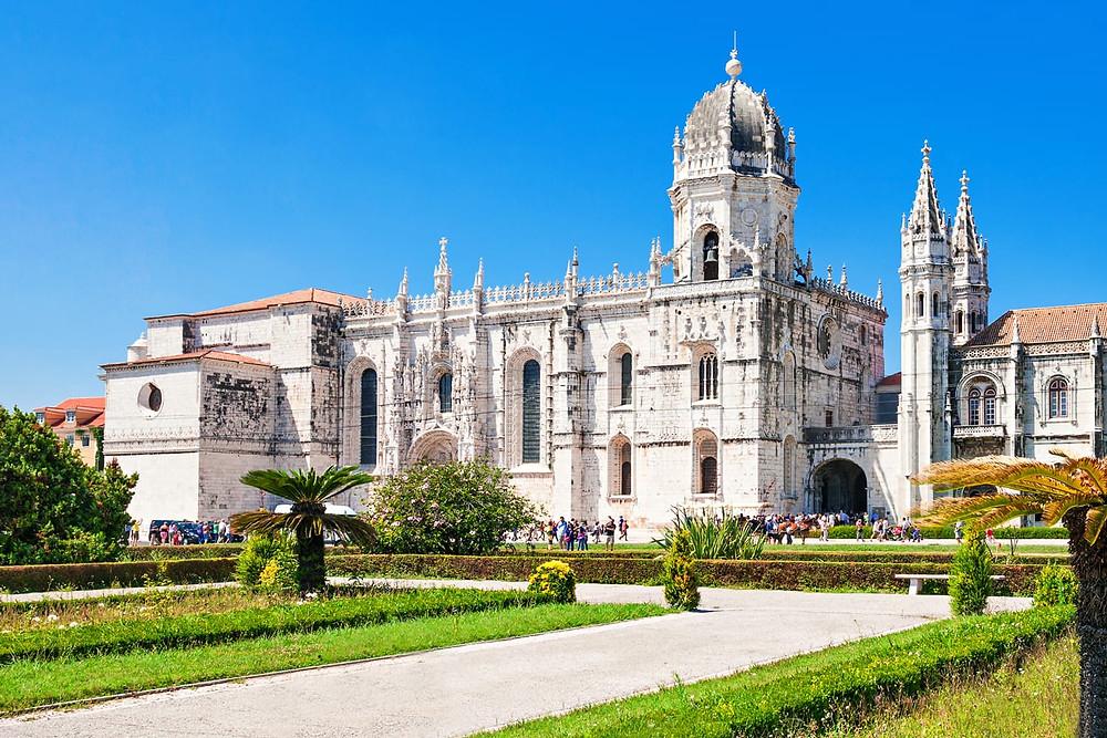 facade of Jeronimos Monastery, a must see site in Lisbon's Belem neighborhood