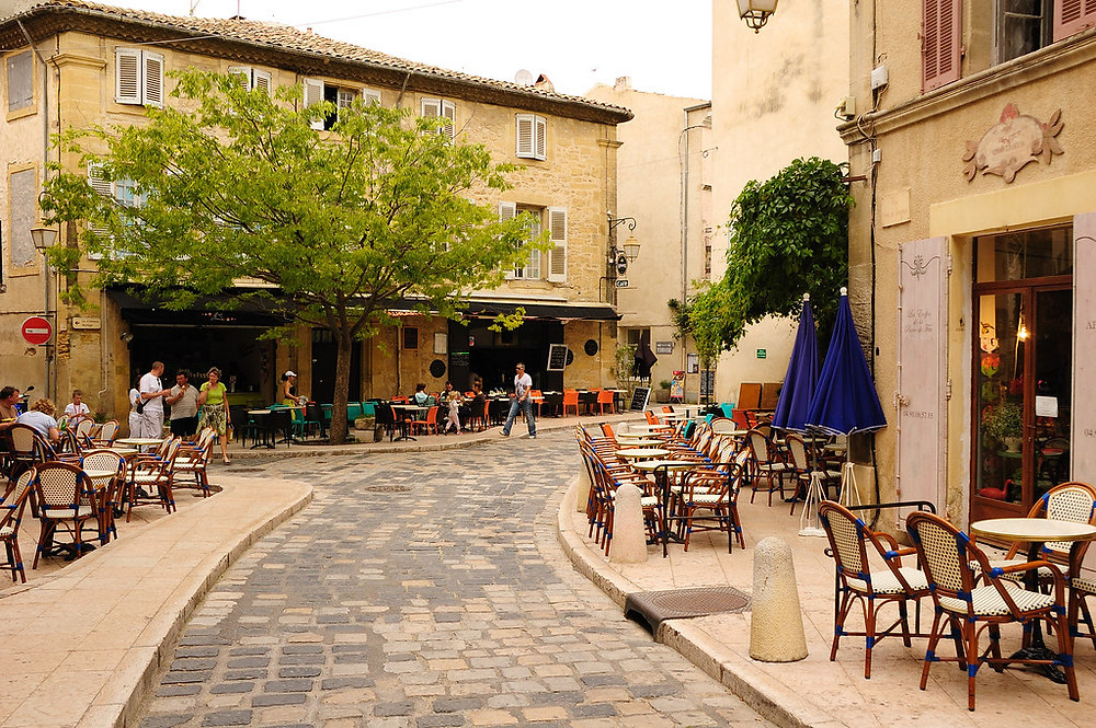 street in the pretty town of Lourmarin in Provence