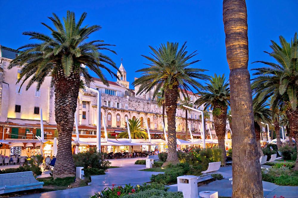 the Riva promenade at twilight in Split Croatia