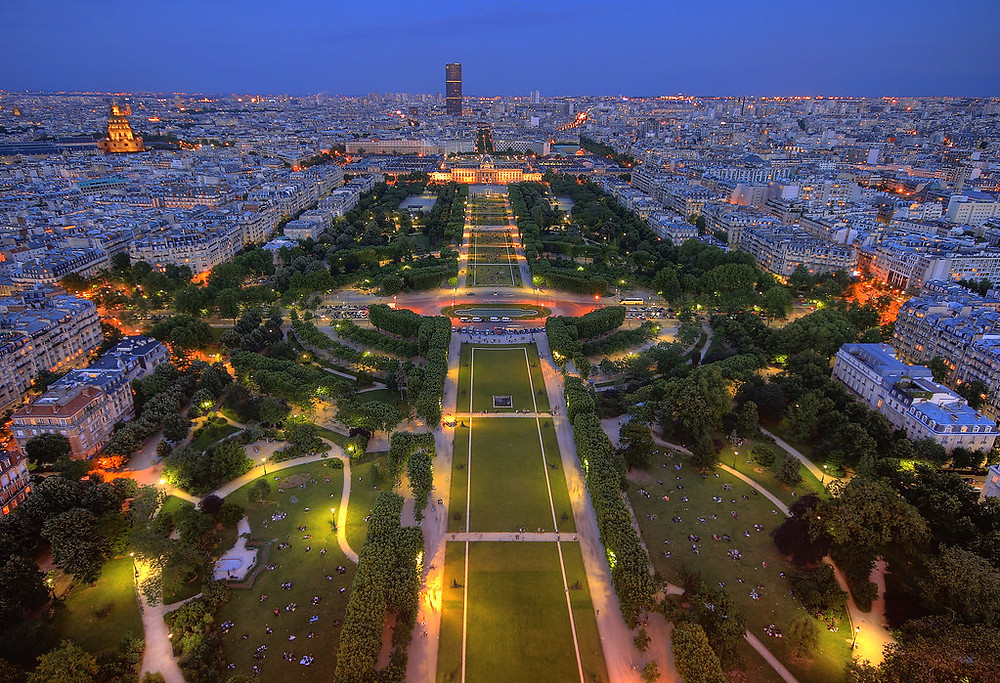view of Champs de Mar park from the Eiffel Tower
