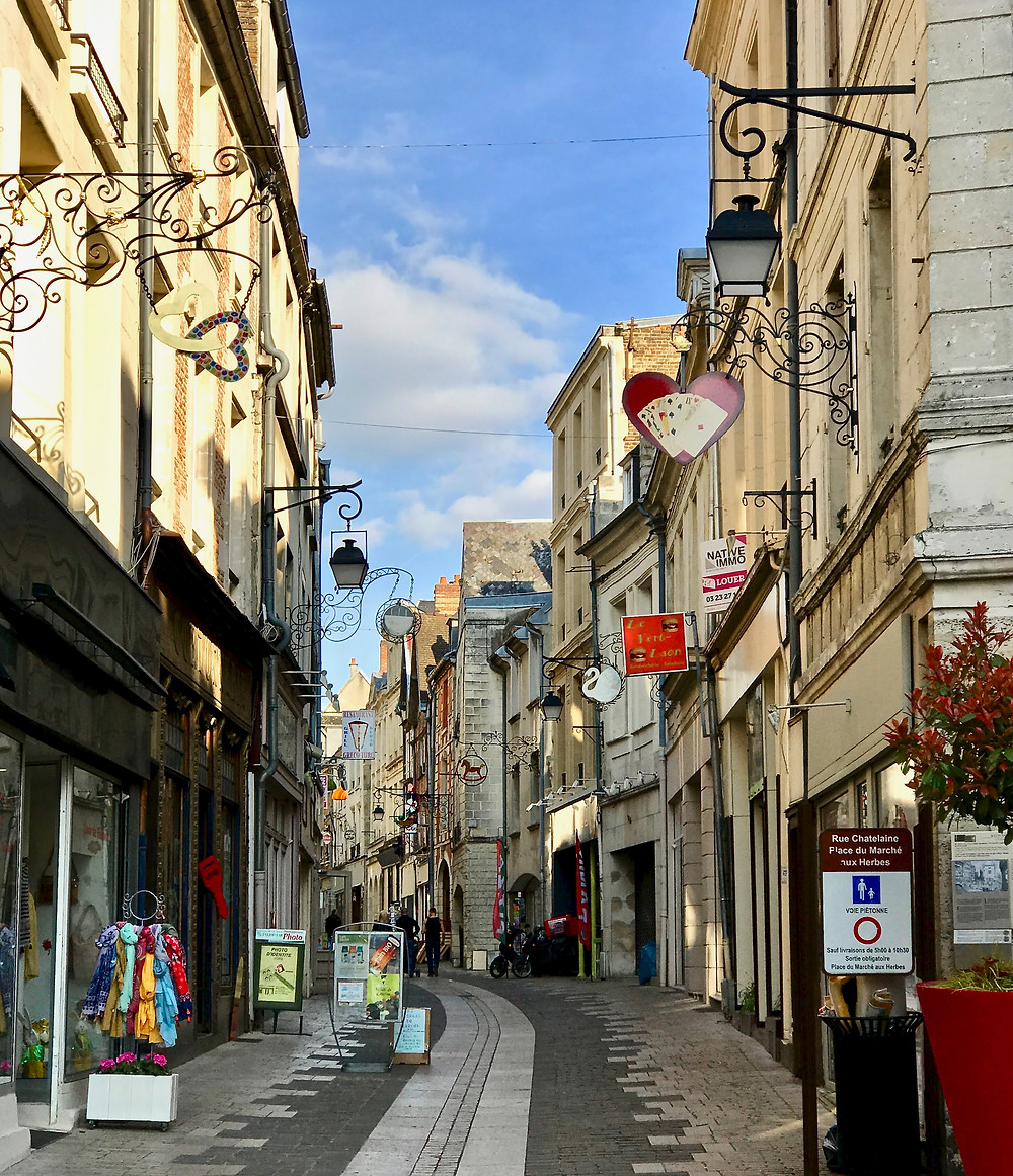 the pedestrianized Rue Châtelain in the medieval village of Laon France