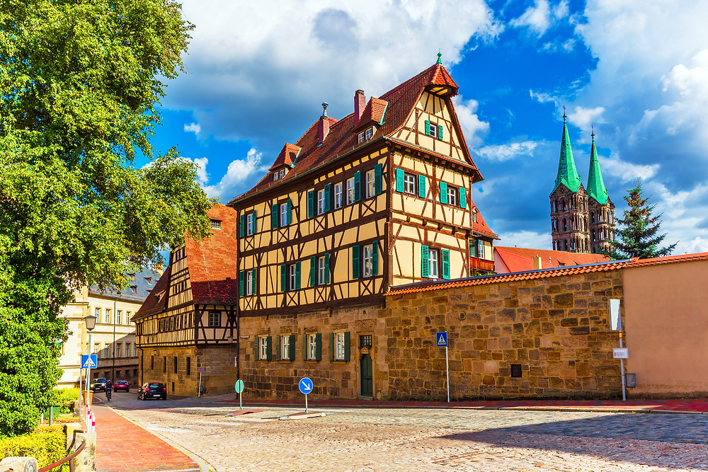 beautiful half-timbered architecture in Bamberg's UNESCO-listed old town