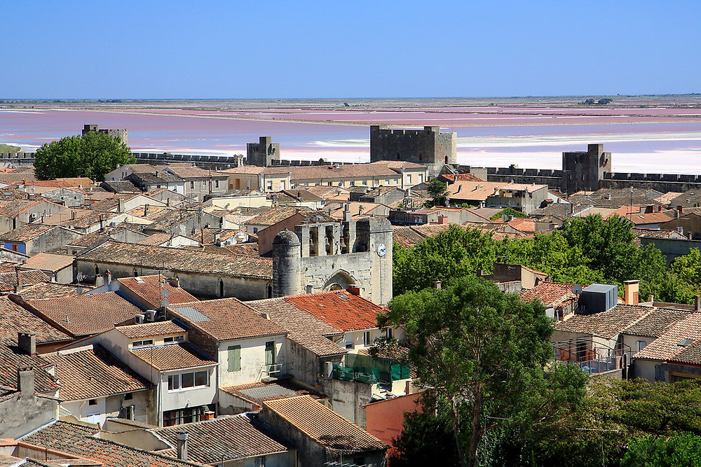 Aigues-Mortes, with the salt marshes in the distance