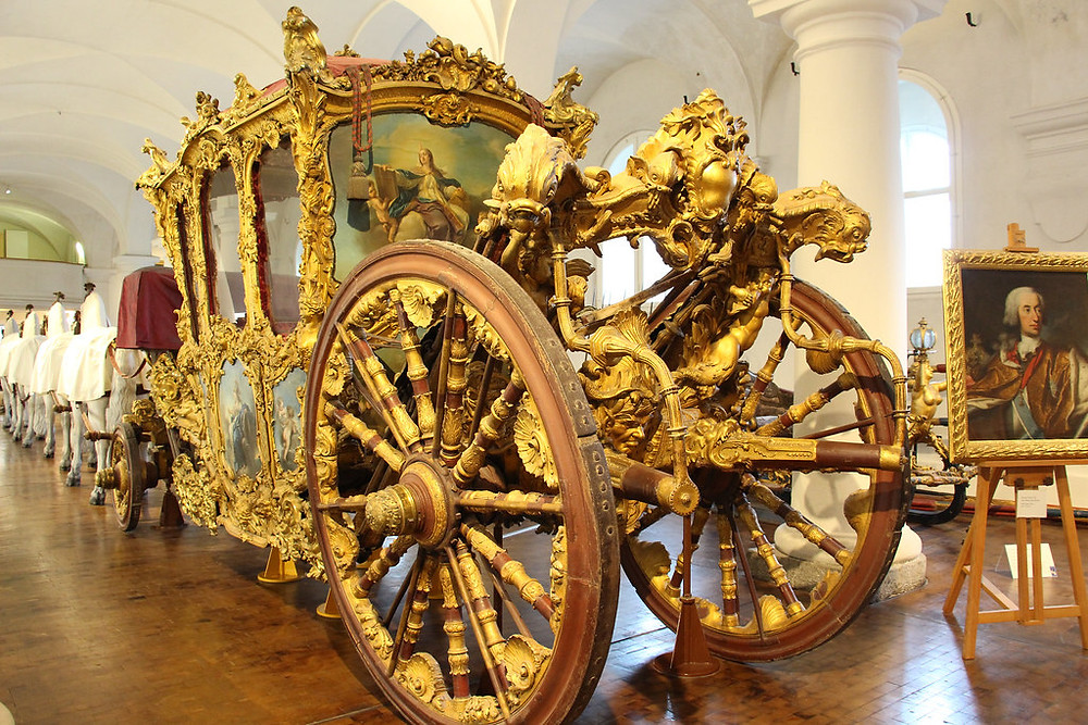 gilded carriage at the Royal Stables Museum