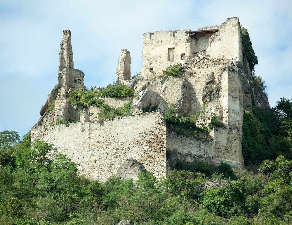 castle ruins in Durnstein Austria, accessed by a 30 minute steep hike
