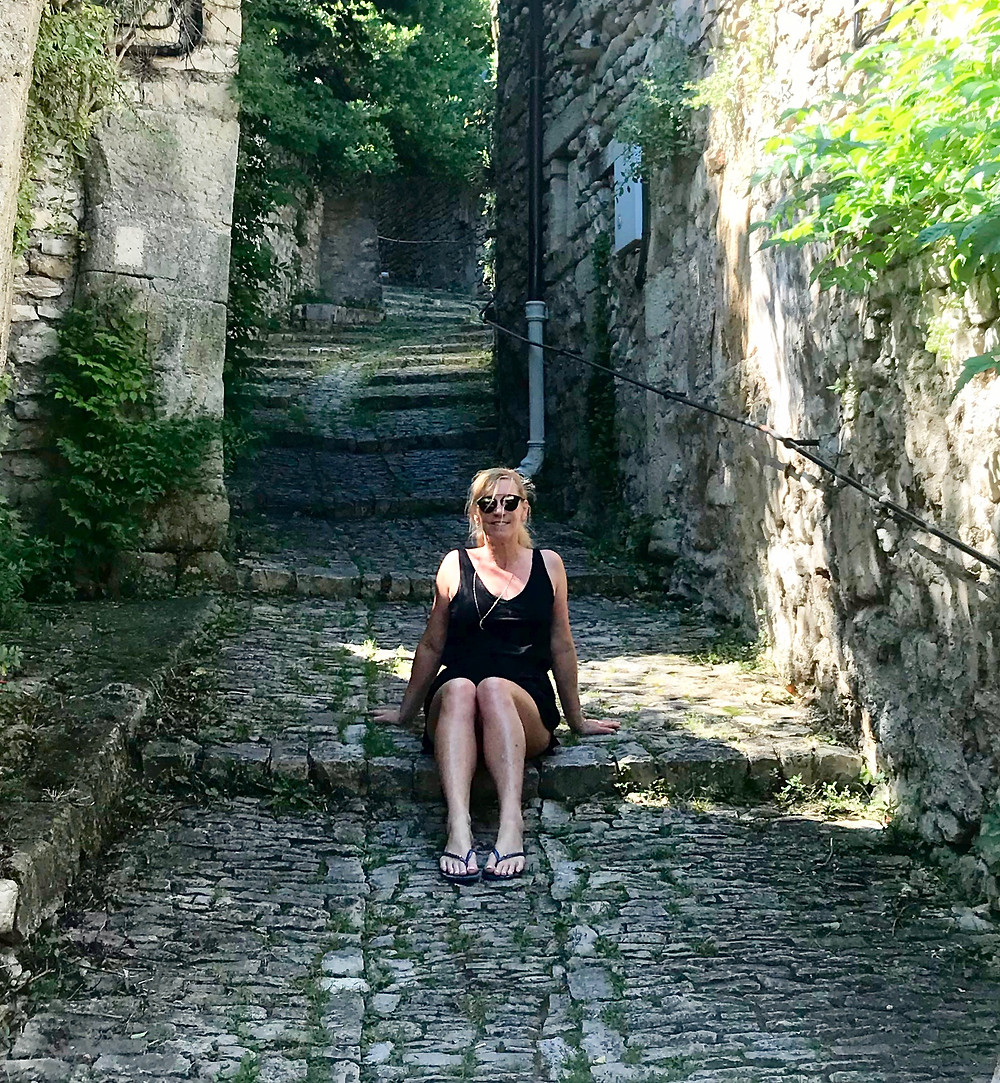 hanging out on the cobbled streets Of Vaison on a hot June day