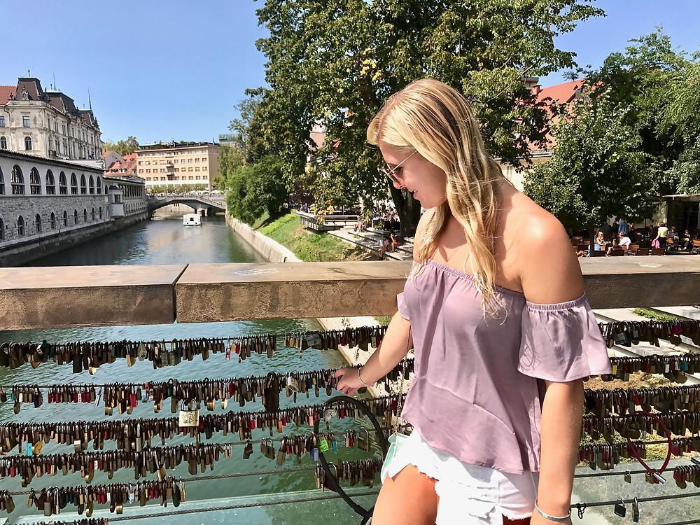 the very tidy love lock bridge, Butcher's Bridge, in Ljubljana