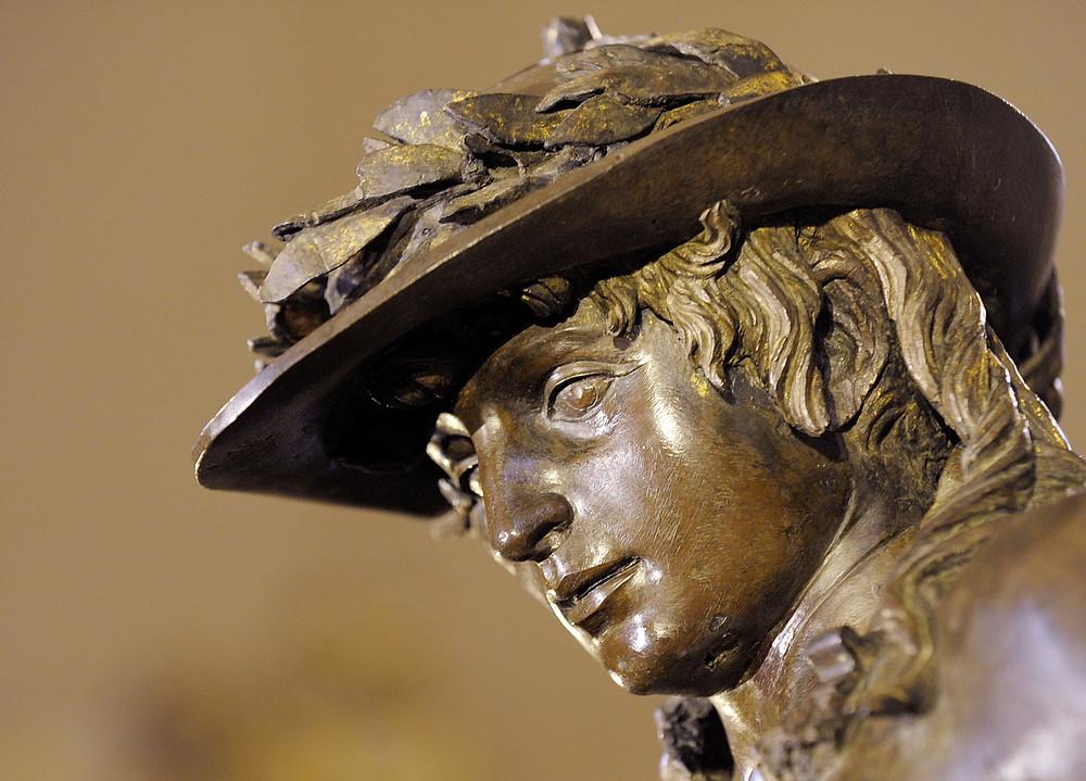 detail of Donatello's Bronze David in the Bargello Museum