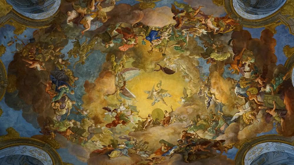frescos on the dome, depicting Charles VI in heavenly splendor