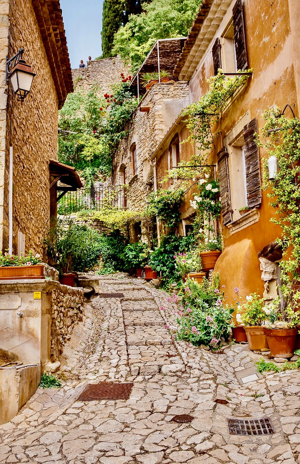 picturesque ancient alley in the medieval village of Lacoste