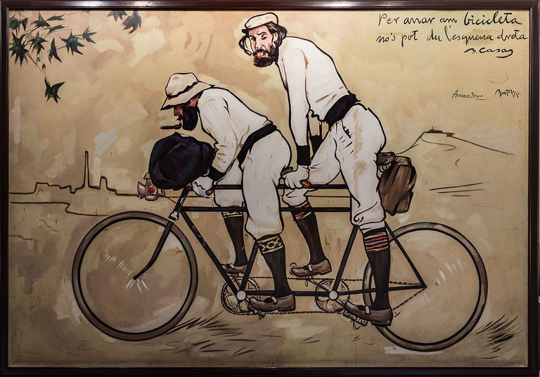 Ramon Cases and Pere Romeu on a Tandem -- created for Qatre Gats restaurant in the Gothic Quarter