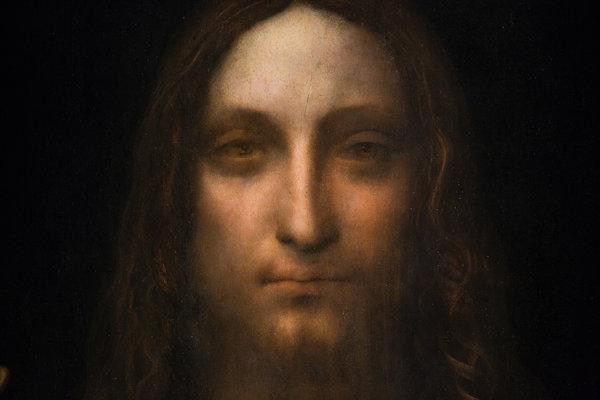 detail from Salvator Mundi, which sold for $450 million at a Christies' auction in 2017