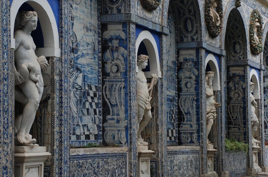 azulejo panels in the garden of Fronteira Palace outside Lisbon