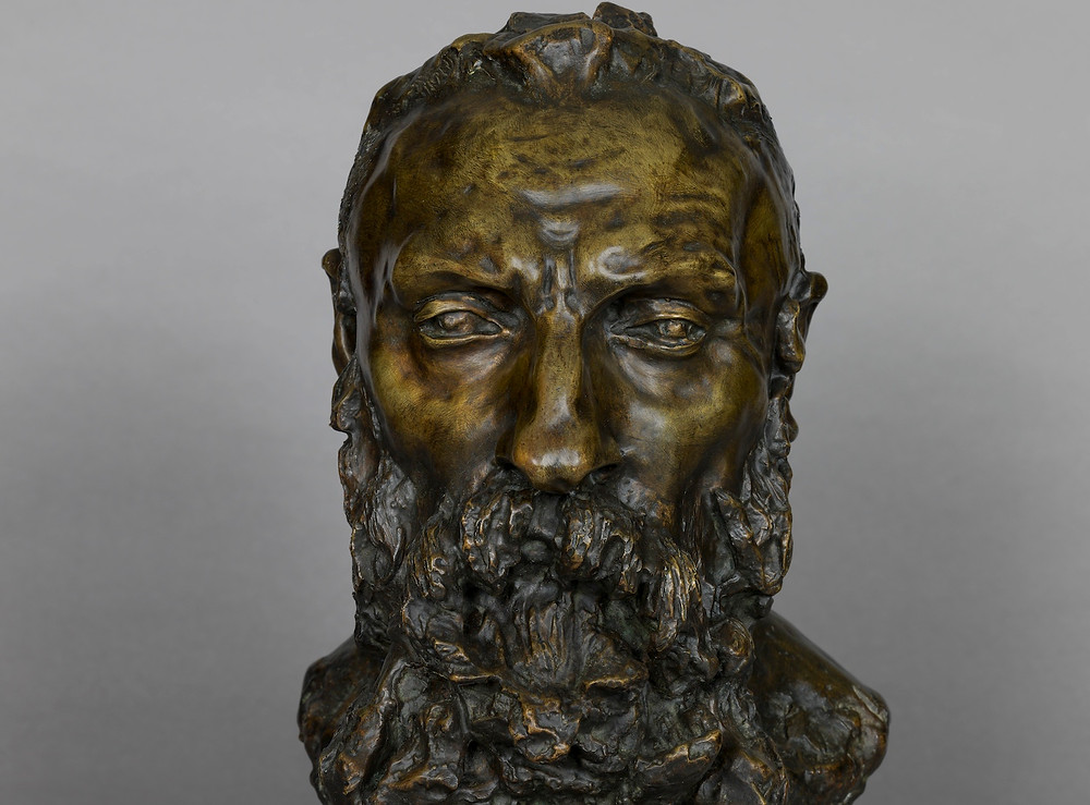 Camille Claudel, Bust of Rodin, 1888-89 -- this rather jarringly severe bust was Rodin's favorite portrait of himself