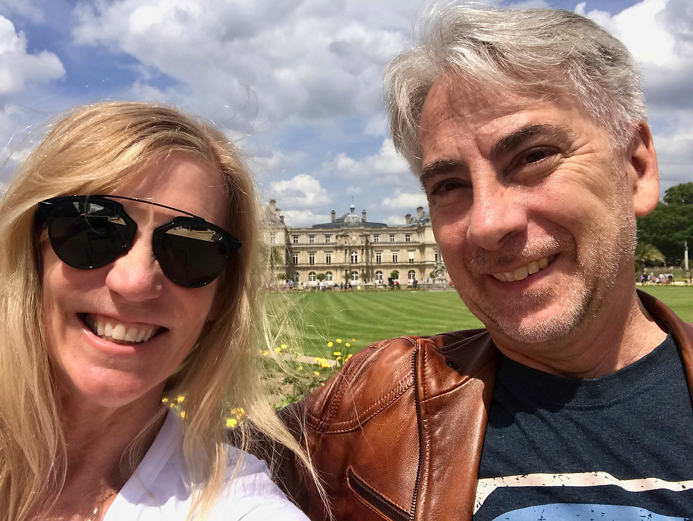 My friend and I lunching in Luxembourg Gardens