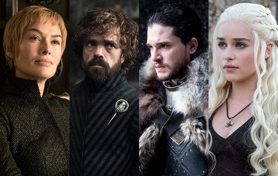 The main characters of Game of Thrones: Cersei Lannister, Tyrion Lannister, Jon Snow, and Danaerys Targaryen