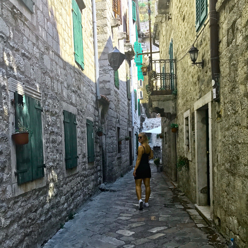 streets in old town Kotor Montenegro