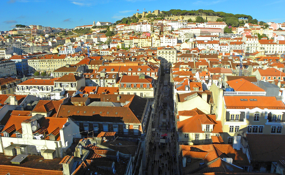view of Lisbon and St. George's Castle from the Santa Justa Elevator.