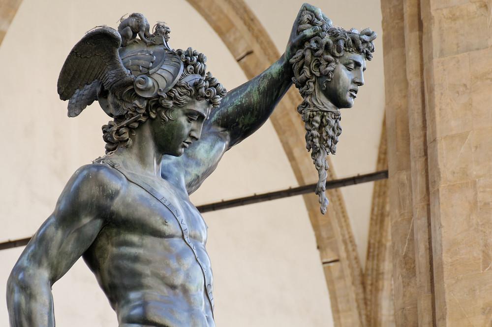 Cellini's Perseus sculpture, in the Piazza della Signoria