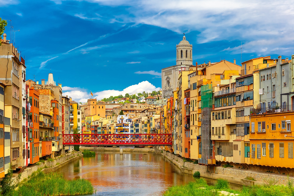 colorful houses on the River Onyar in Girona