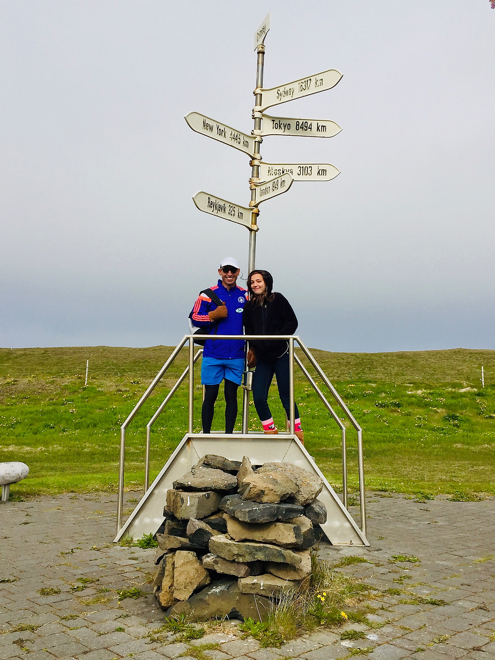 my husband and daughter, freezing in Grimsey Island, at the Arctic Circle distance and direction market