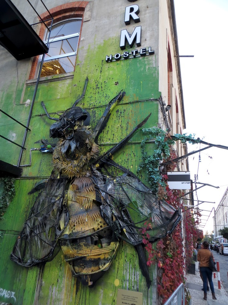 Bordalo II's massive Bee at the LX Factory in Lisbon