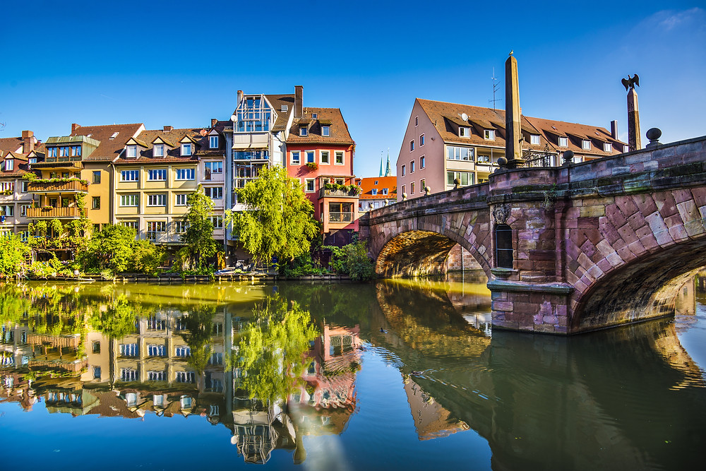 the old town of Nuremburg on the Pegnitz River