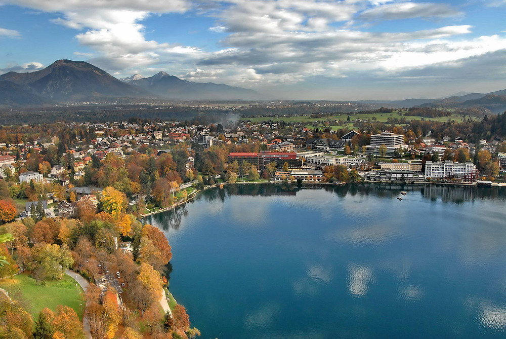 Lake Bled with the Julian Alps in the background