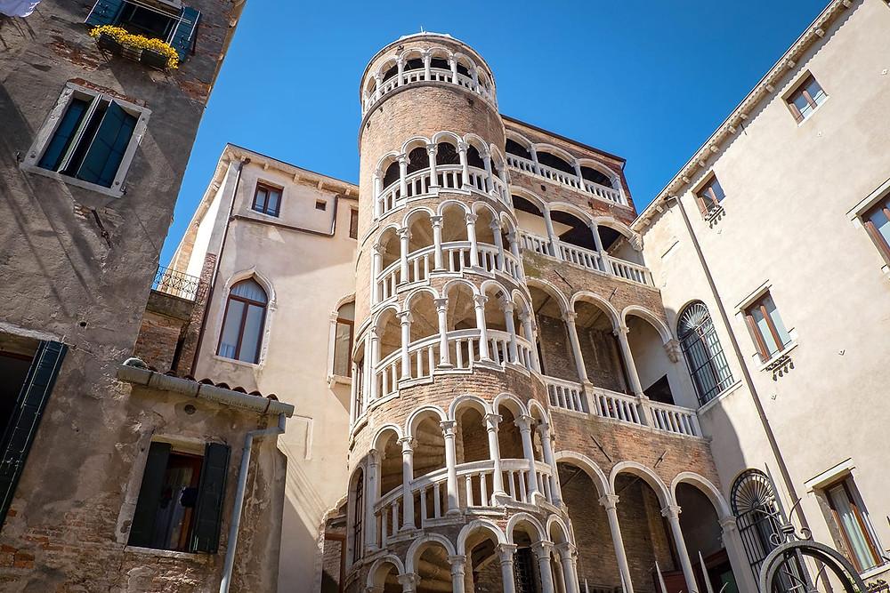 the impressive spiral staircase of Palazzo Contarini