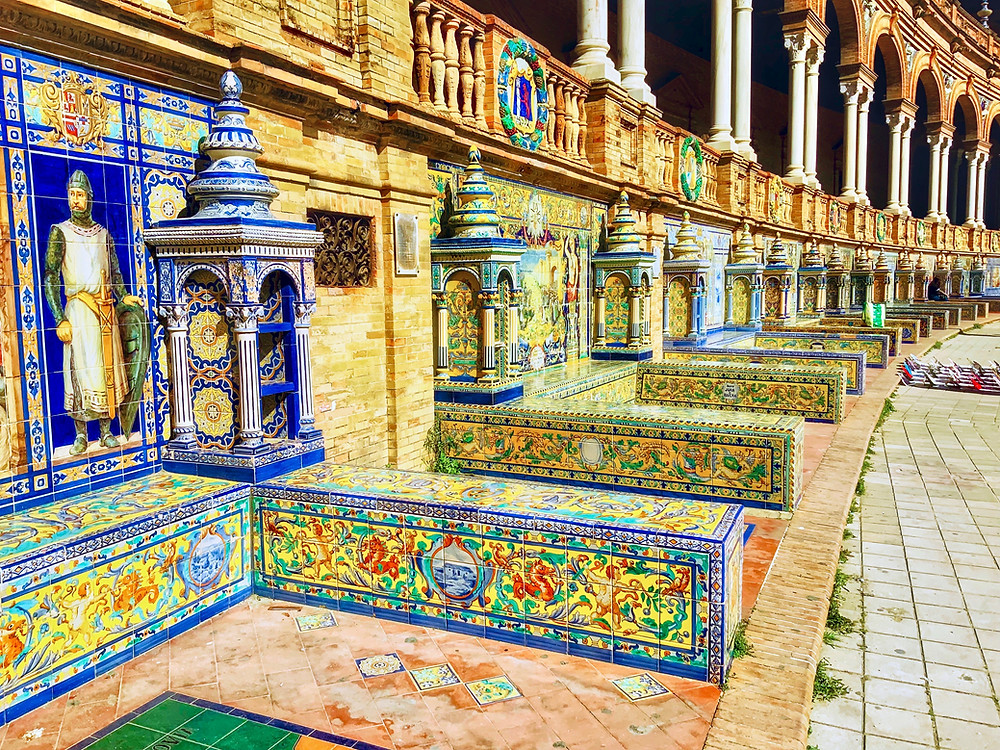 the colorful Plaza de Espana in Seville
