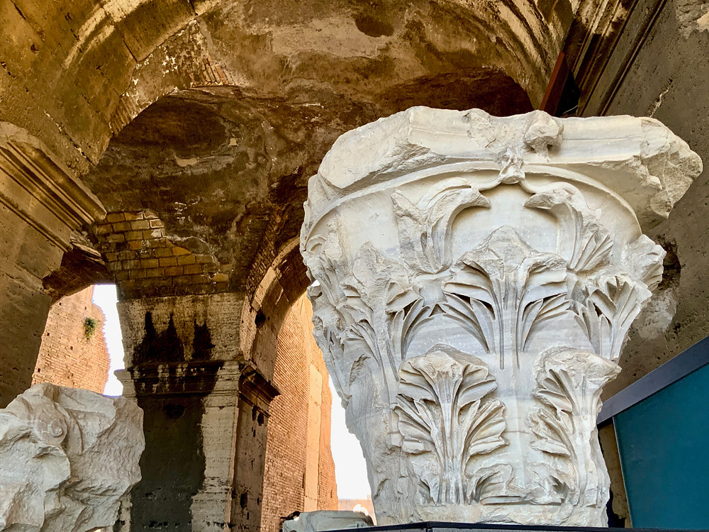 column capital inside the Colosseum
