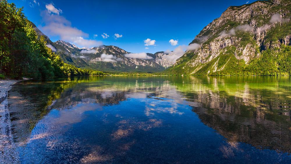 the pristine Lake Bohinj