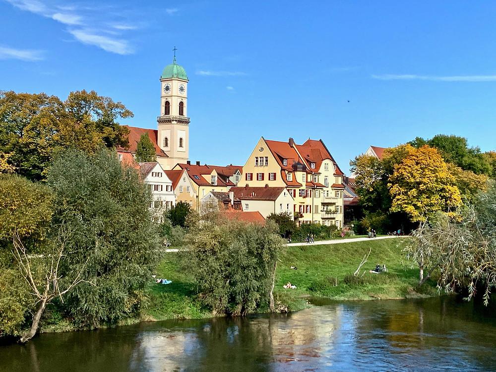 Stadtamhof neighborhood of Regensburg, as seen from the Stone Bridge