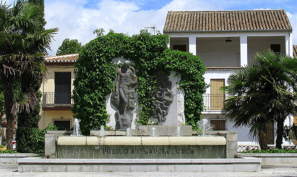 A fountain dedicated to Federico García Lorca in the main square of his birthplace, Fuente Vaqueros, Andalucía, Spain
