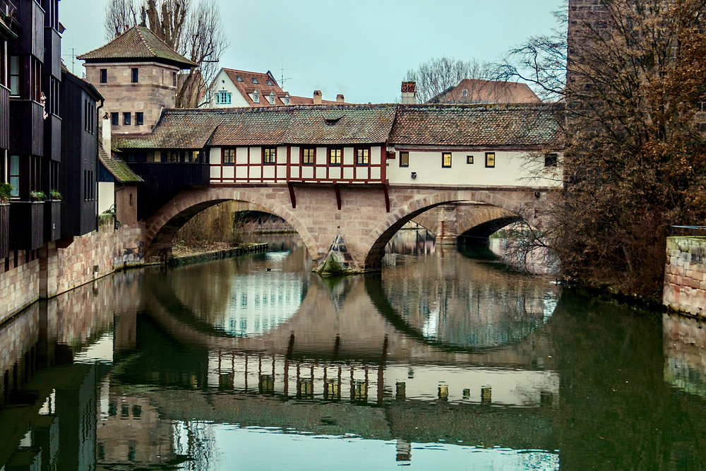 medieval Hangman's bridge in the old town of Nuremburg