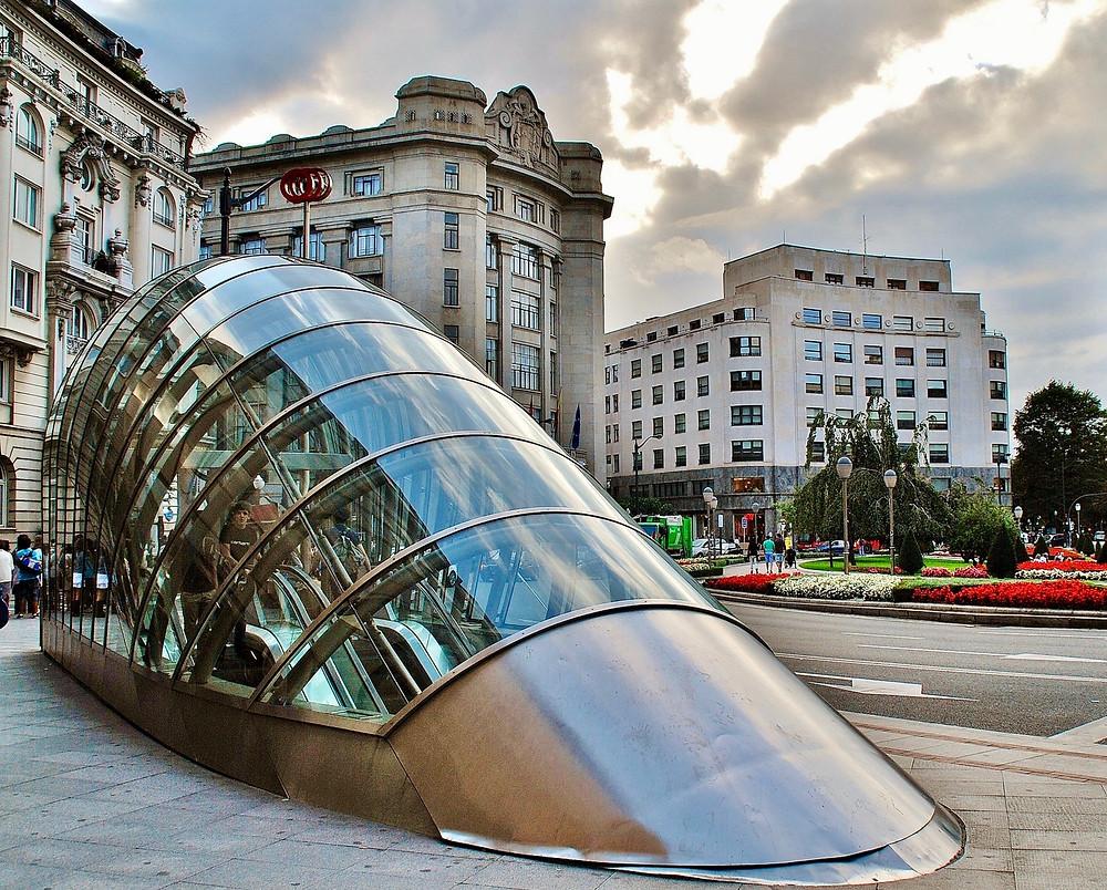 """a """"fosterito,"""" an entrance to the Bilbao metro"""