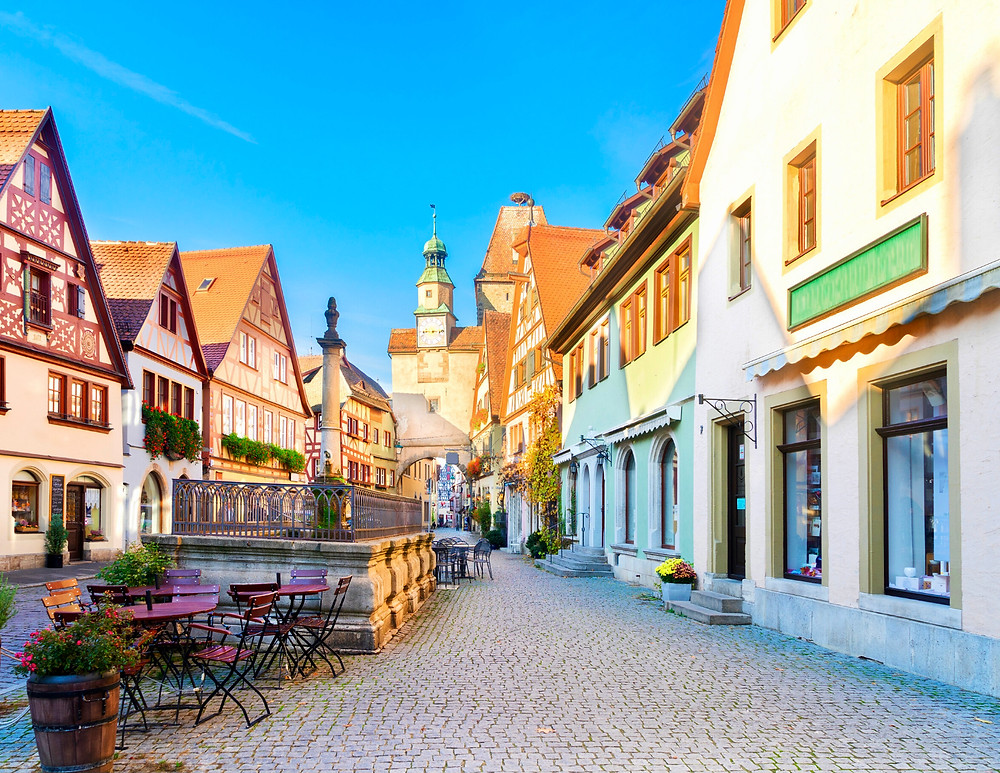 pretty street in Rothenburg ob der Tauber