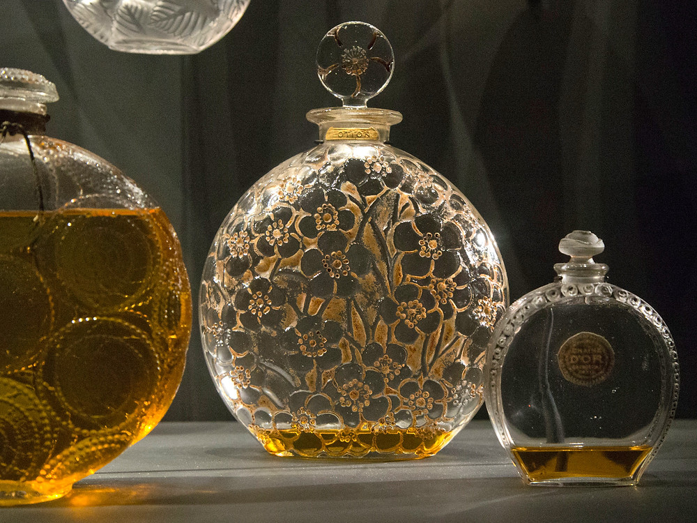 beautiful glass perfume bottle at the Fragonard Perfume Museum in Paris