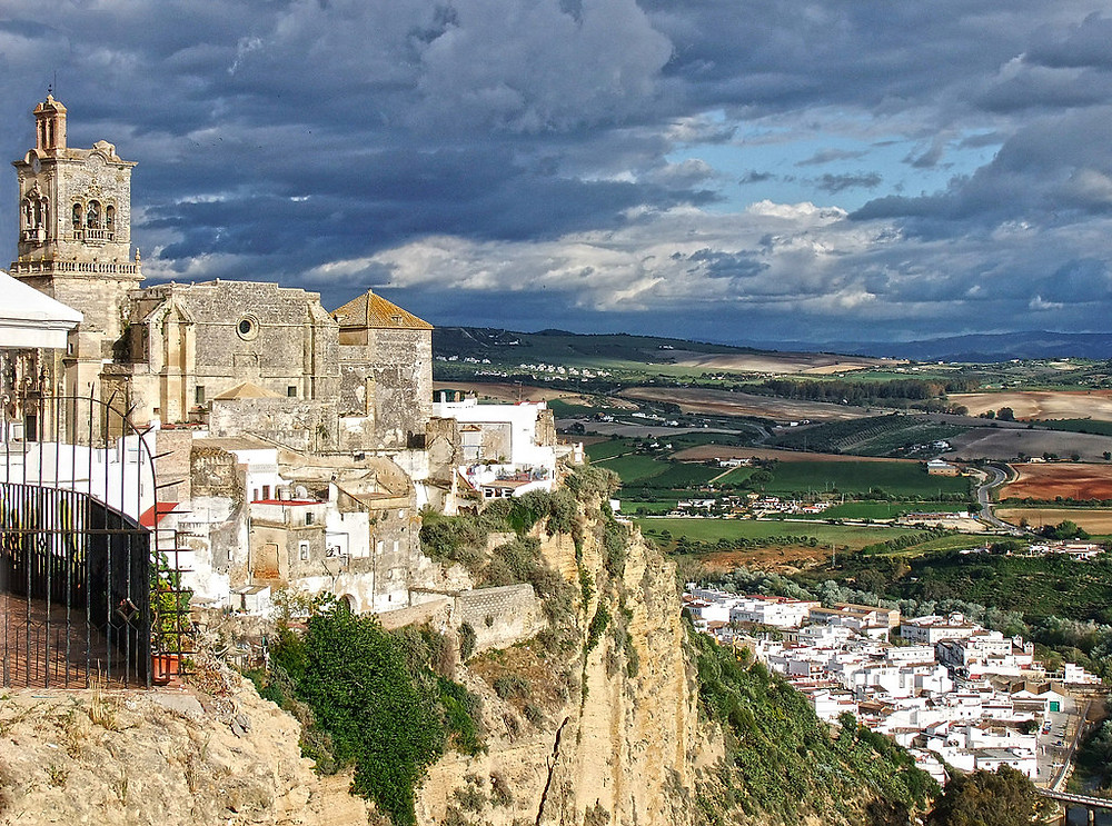the white pueblo of Arcos de la Frontera in Andalusia Spain