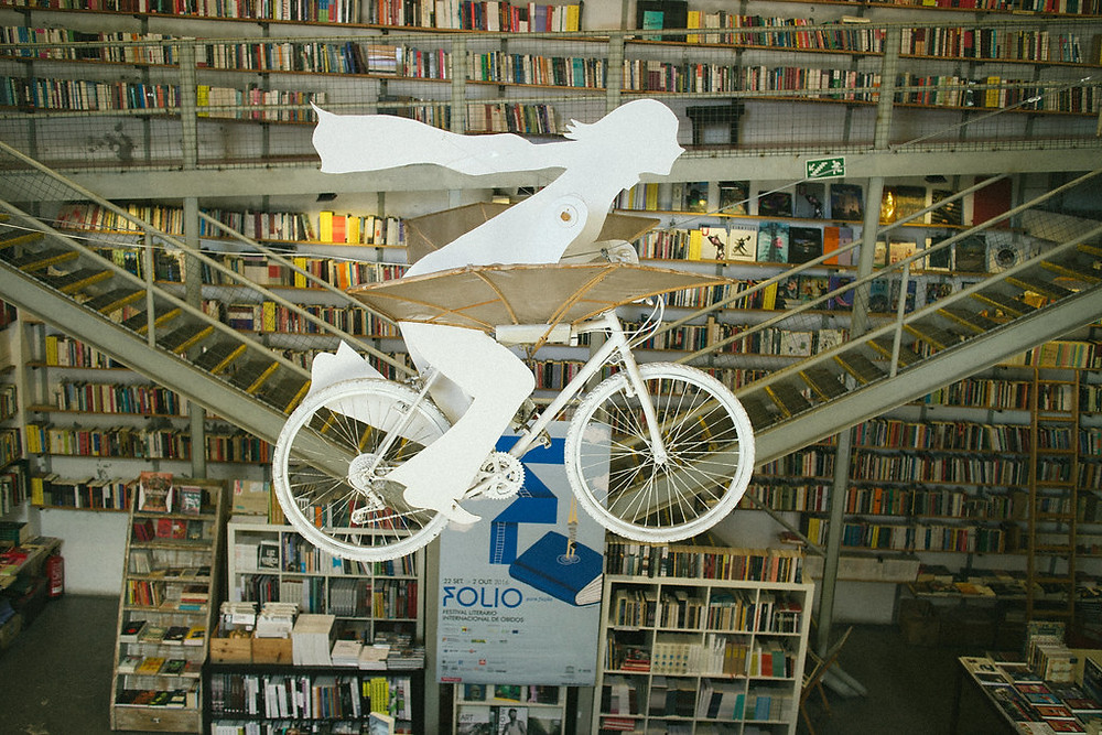 flying bicycle in Der Devagar Bookstore in Lisbon