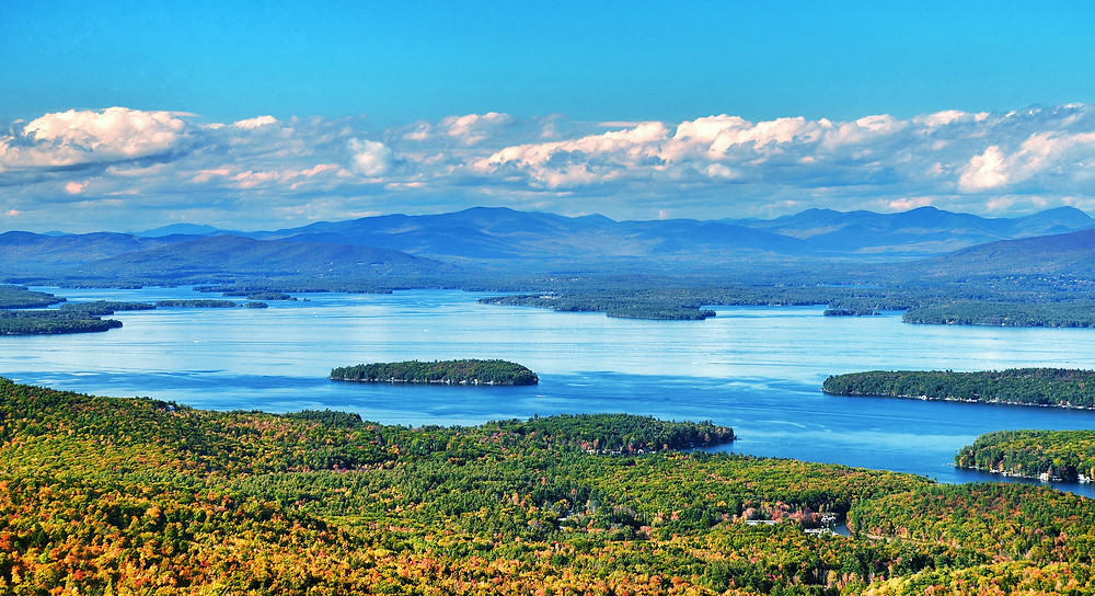 View from Mount Major in New Hampshire with Lake Winnipesaukee and the Belknap Mountains