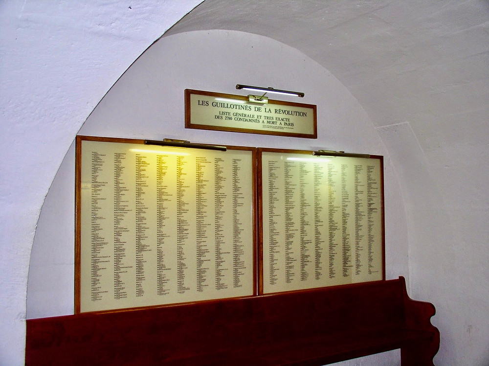sign with the names of the guillotine victims